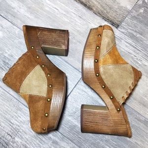 Boho 70s Platform Patchwork Suede Woodblock Clogs